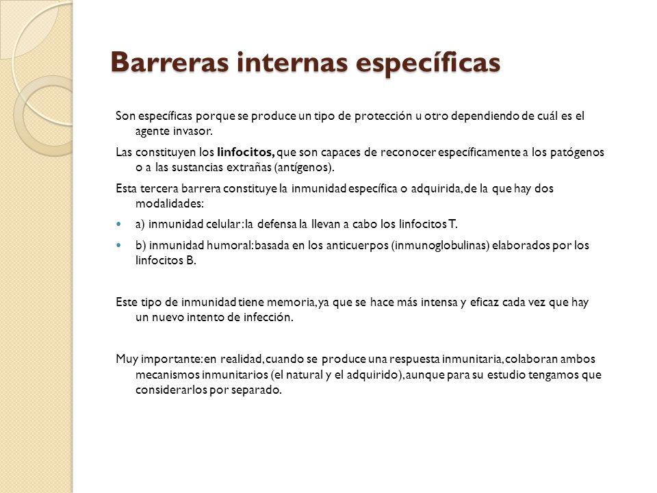 Barreras internas específicas