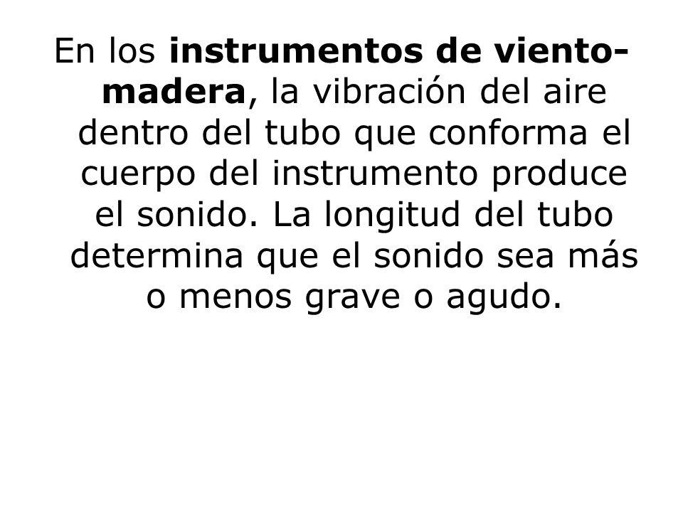 En los instrumentos de viento-madera, la vibración del aire dentro del tubo que conforma el cuerpo del instrumento produce el sonido.