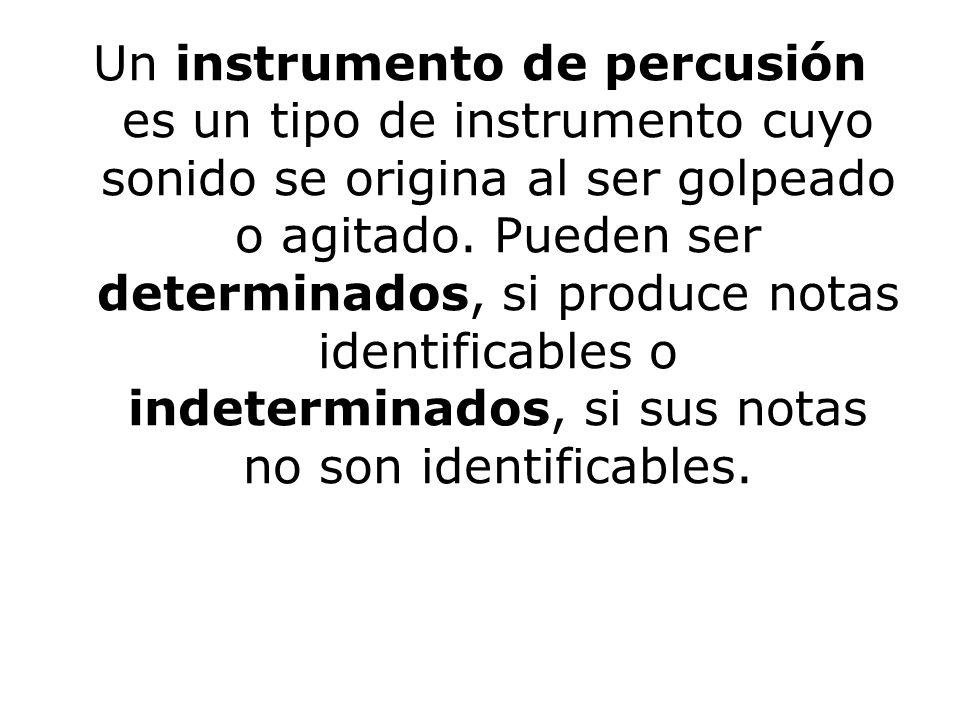 Un instrumento de percusión es un tipo de instrumento cuyo sonido se origina al ser golpeado o agitado.