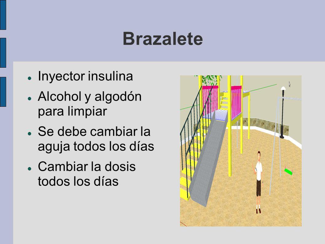 Brazalete Inyector insulina Alcohol y algodón para limpiar