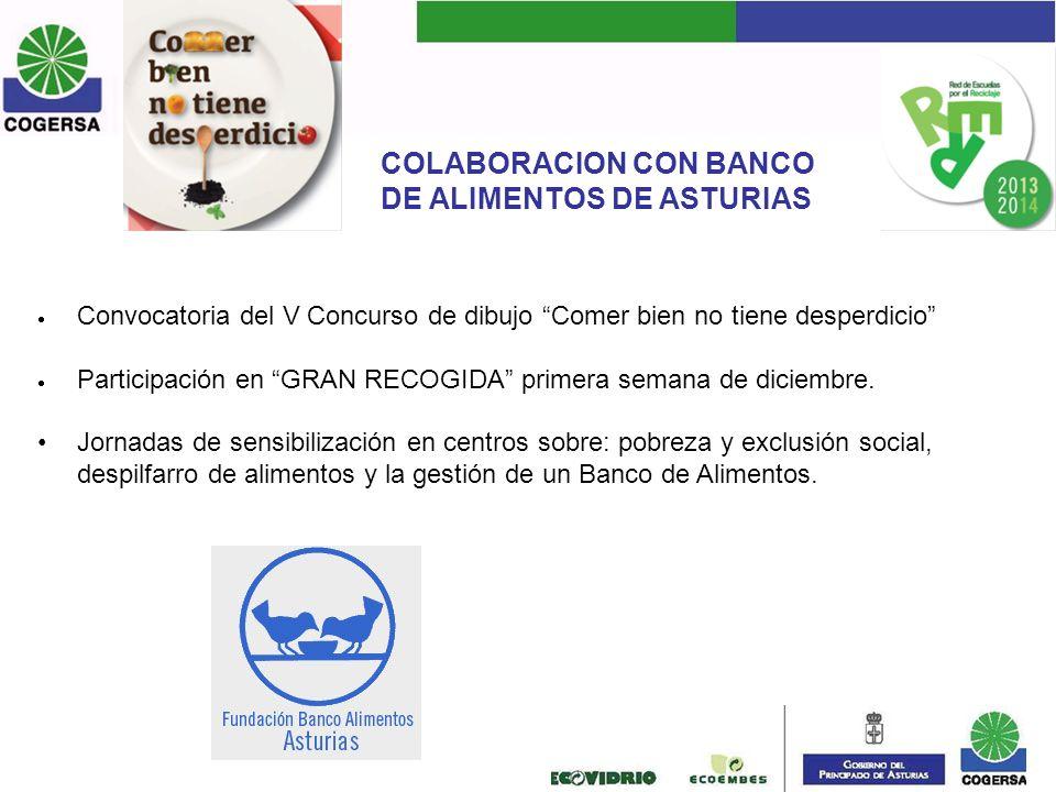 COLABORACION CON BANCO DE ALIMENTOS DE ASTURIAS