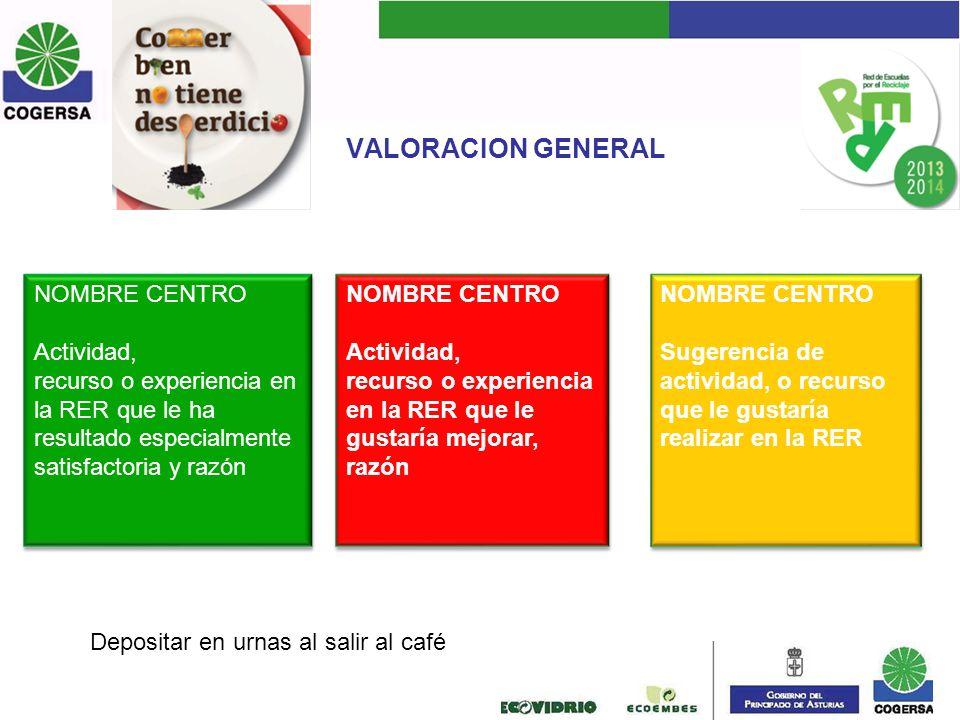 VALORACION GENERAL NOMBRE CENTRO Actividad,