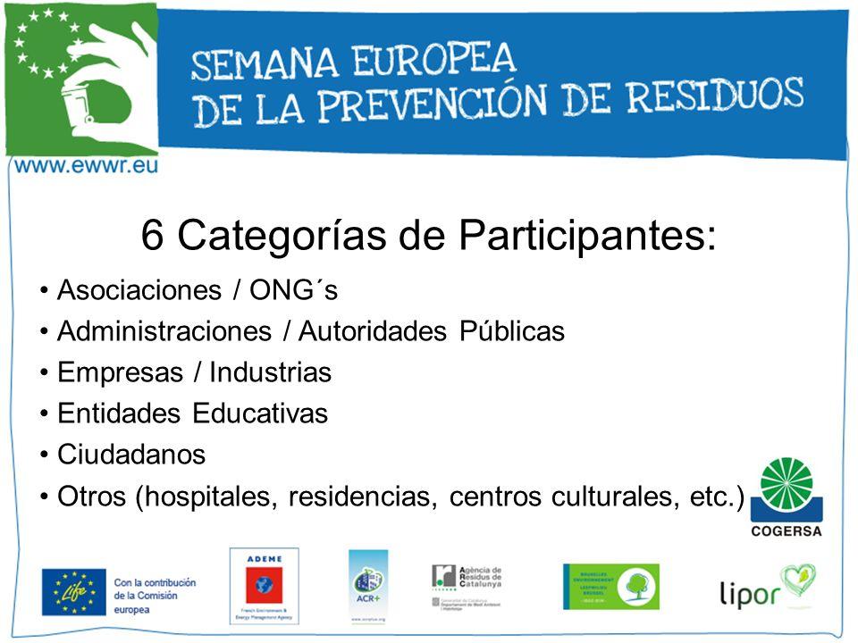 6 Categorías de Participantes:
