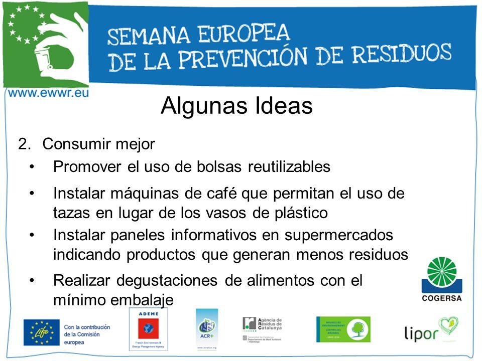 Algunas Ideas Consumir mejor Promover el uso de bolsas reutilizables