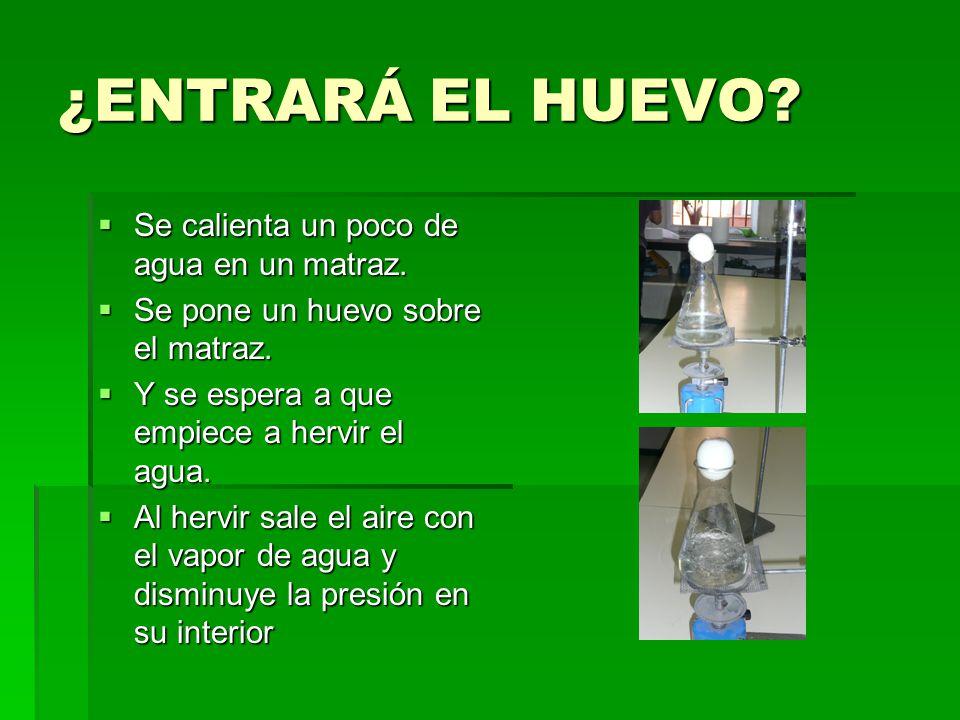 ¿ENTRARÁ EL HUEVO Se calienta un poco de agua en un matraz.