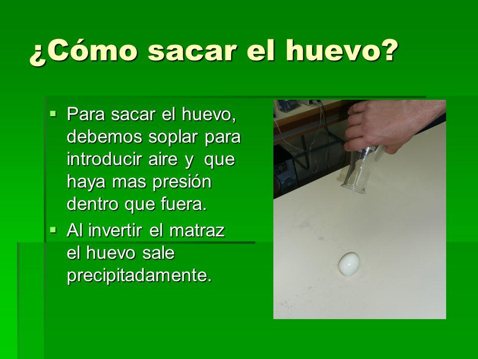 ¿Cómo sacar el huevo Para sacar el huevo, debemos soplar para introducir aire y que haya mas presión dentro que fuera.