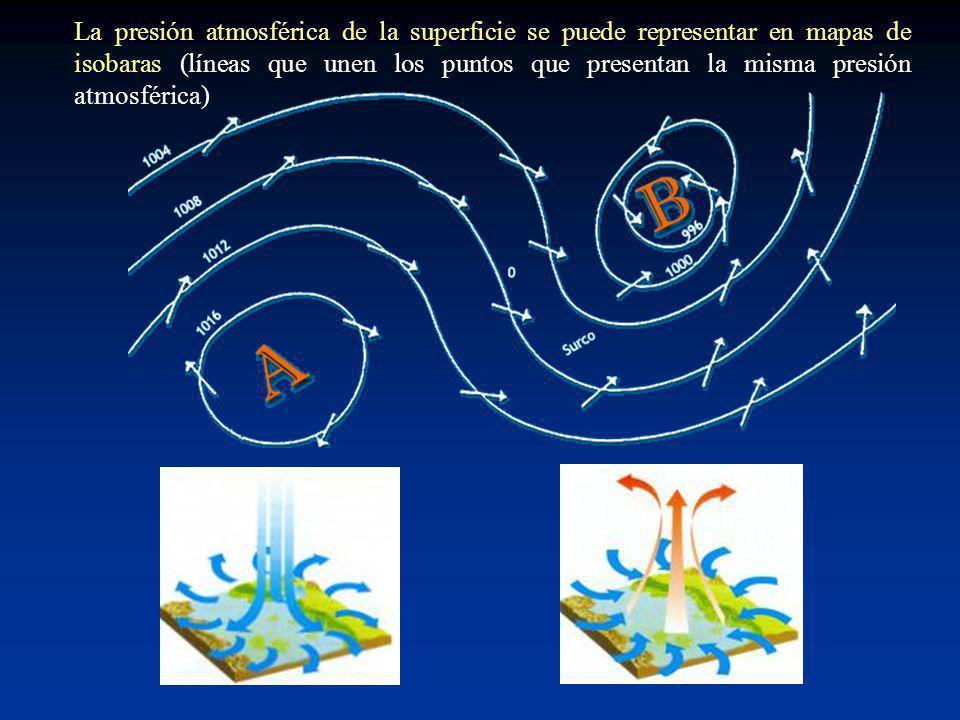La presión atmosférica de la superficie se puede representar en mapas de isobaras (líneas que unen los puntos que presentan la misma presión atmosférica)