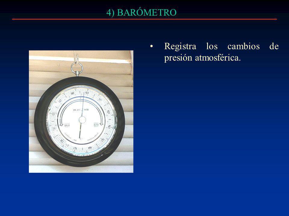 4) BARÓMETRO Registra los cambios de presión atmosférica.