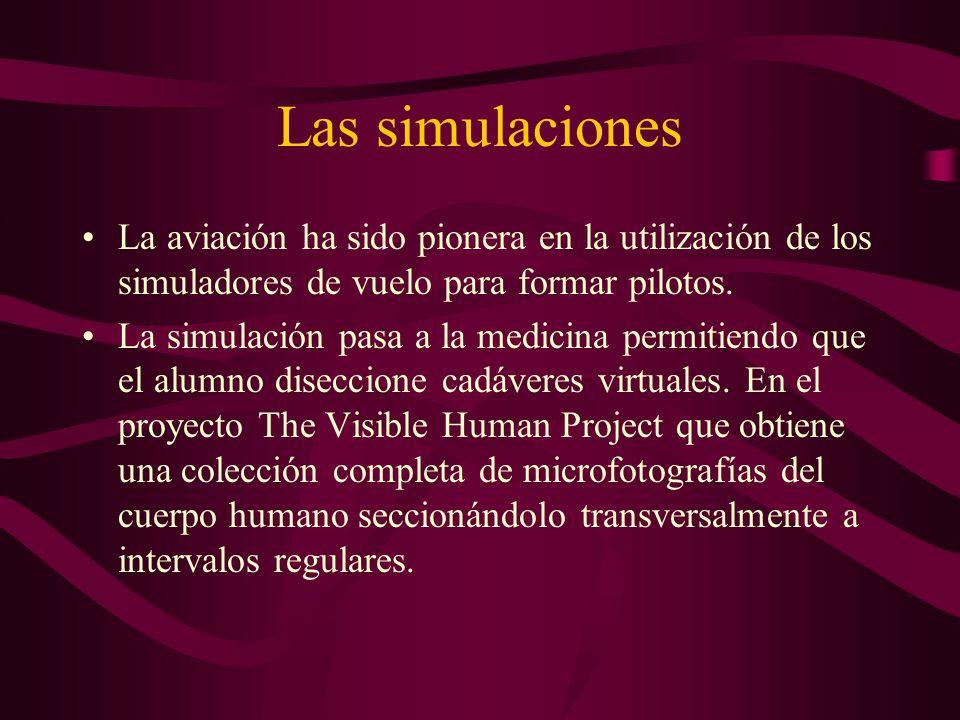 Las simulaciones La aviación ha sido pionera en la utilización de los simuladores de vuelo para formar pilotos.