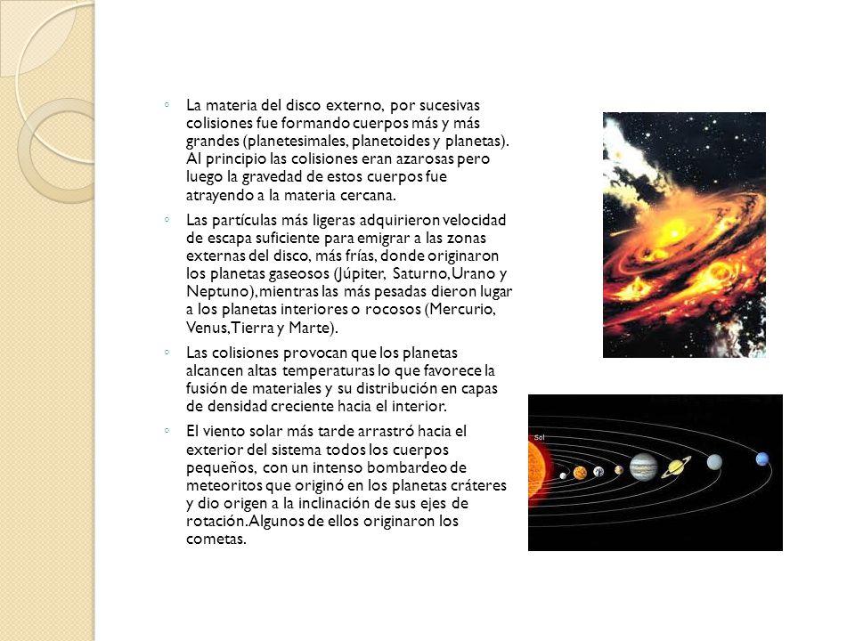 La materia del disco externo, por sucesivas colisiones fue formando cuerpos más y más grandes (planetesimales, planetoides y planetas). Al principio las colisiones eran azarosas pero luego la gravedad de estos cuerpos fue atrayendo a la materia cercana.
