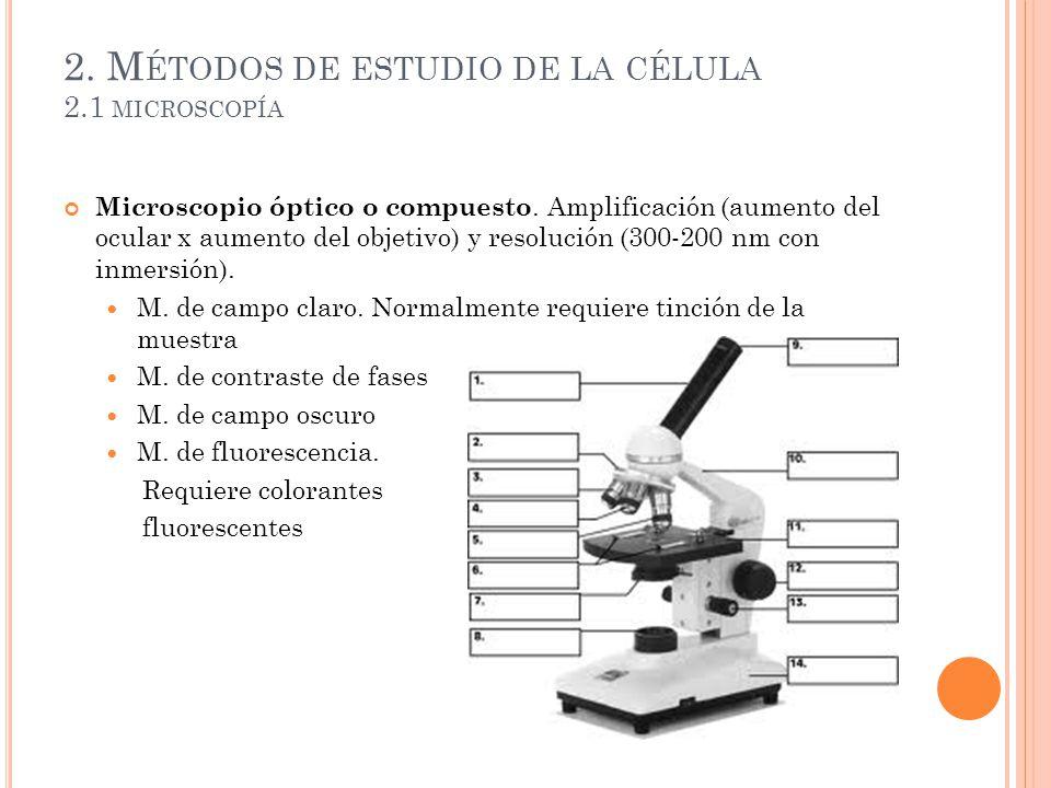2. Métodos de estudio de la célula 2.1 microscopía