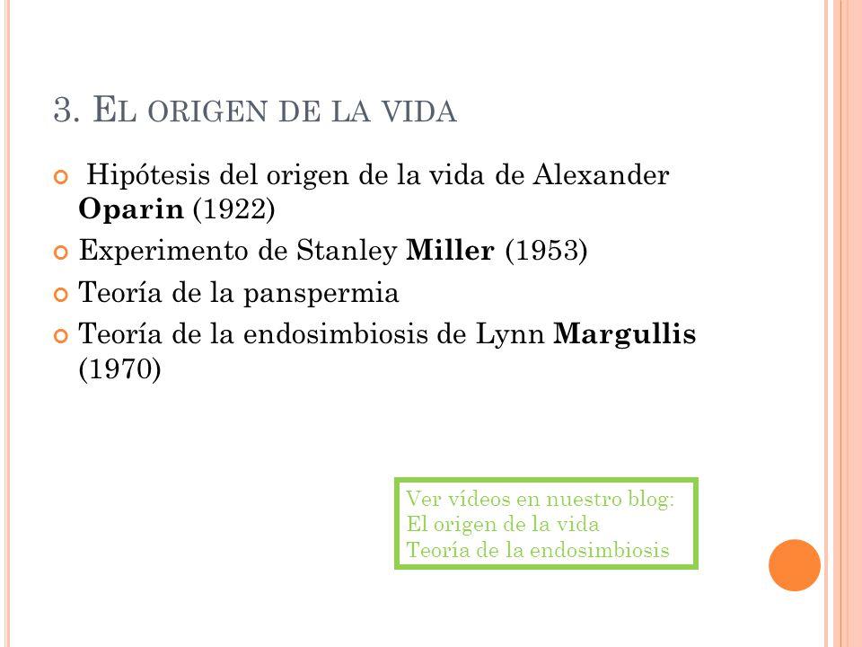 3. El origen de la vida Hipótesis del origen de la vida de Alexander Oparin (1922) Experimento de Stanley Miller (1953)
