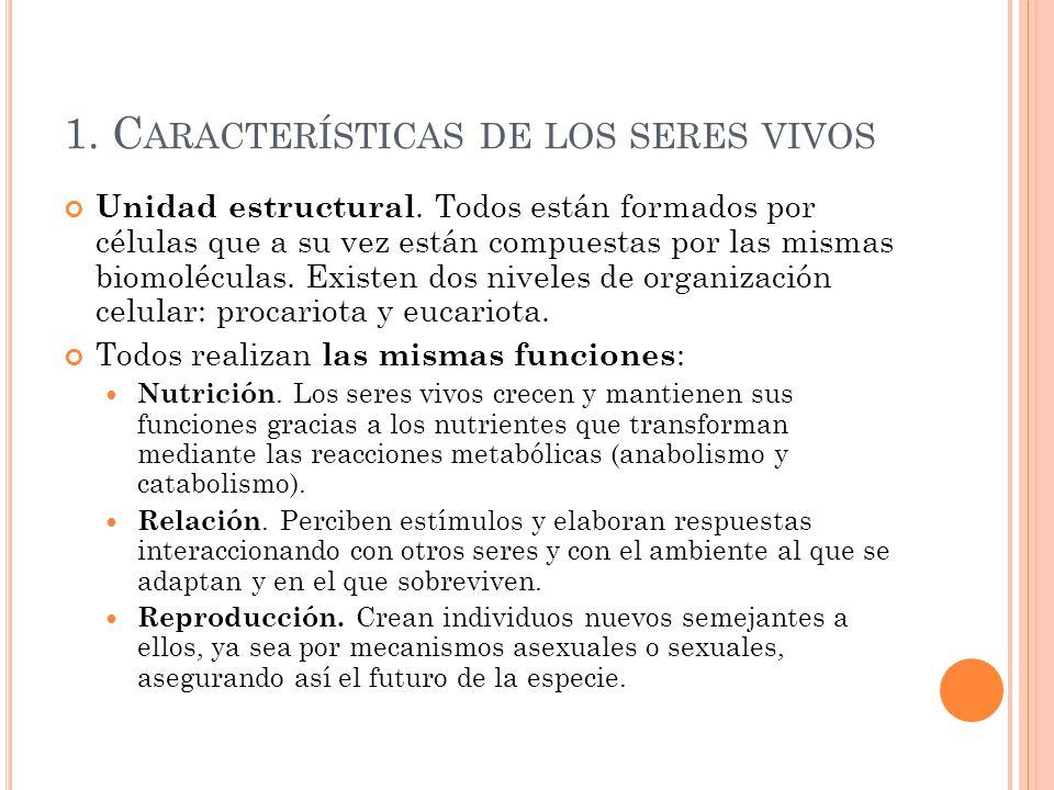 1. Características de los seres vivos