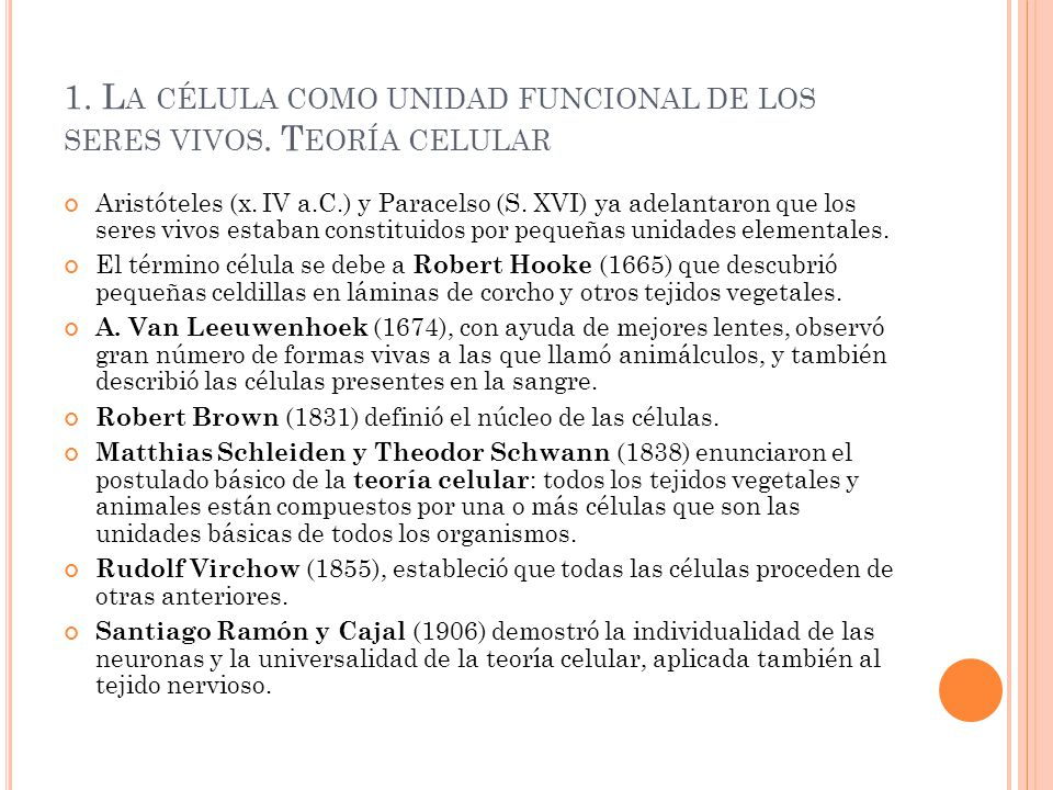 1. La célula como unidad funcional de los seres vivos. Teoría celular