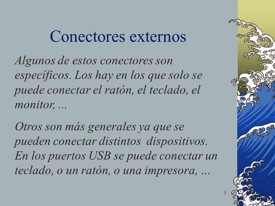 Conectores externos Algunos de estos conectores son específicos. Los hay en los que solo se puede conectar el ratón, el teclado, el monitor, ...