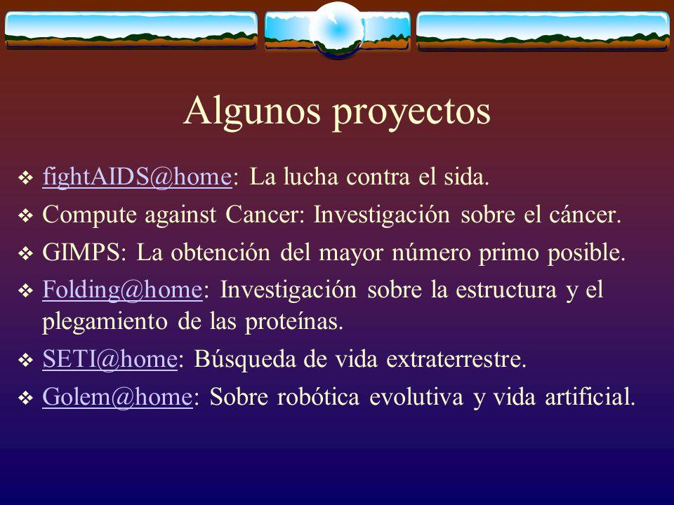 Algunos proyectos fightAIDS@home: La lucha contra el sida.