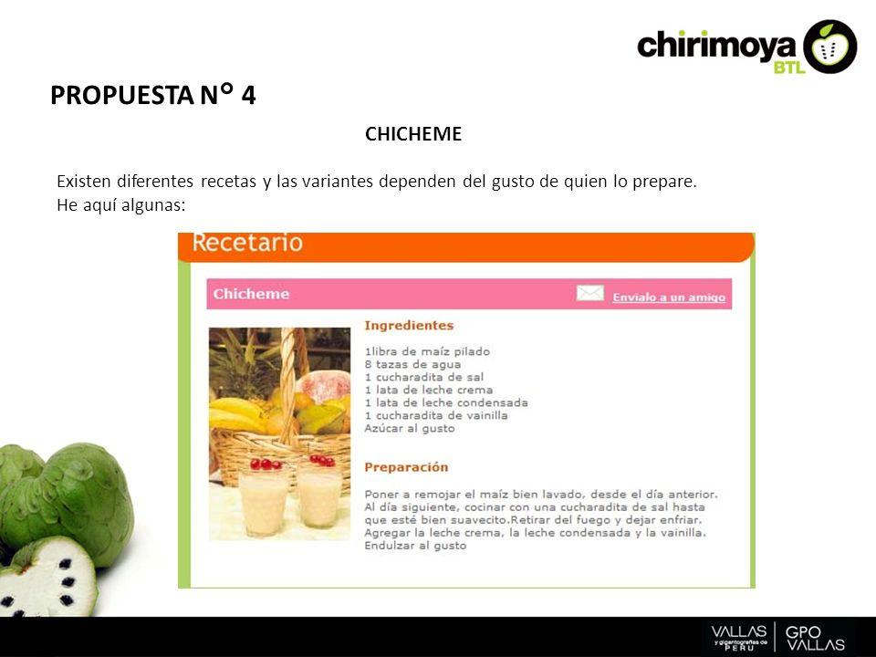 PROPUESTA N° 4 CHICHEME. Existen diferentes recetas y las variantes dependen del gusto de quien lo prepare.