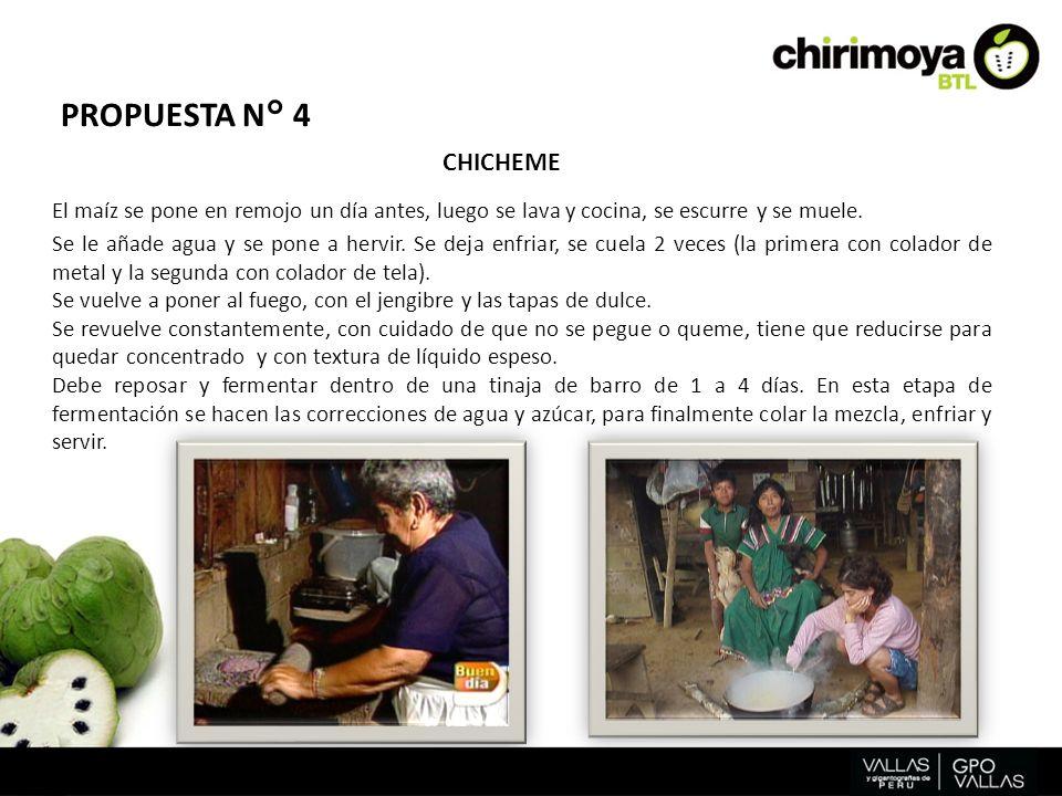 PROPUESTA N° 4 CHICHEME. El maíz se pone en remojo un día antes, luego se lava y cocina, se escurre y se muele.
