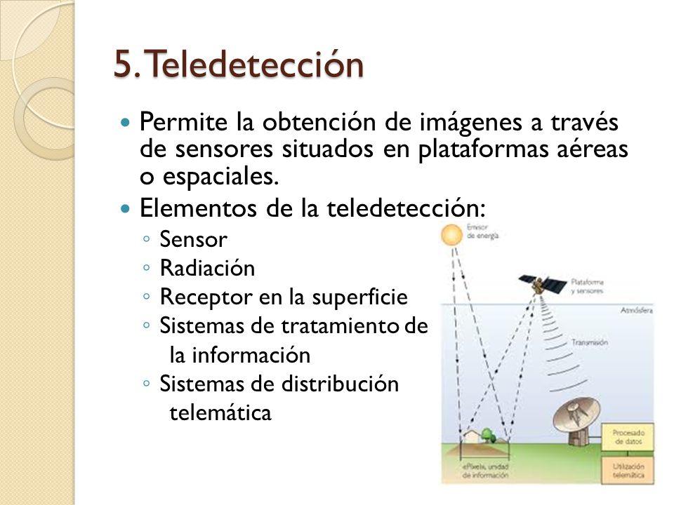 5. Teledetección Permite la obtención de imágenes a través de sensores situados en plataformas aéreas o espaciales.