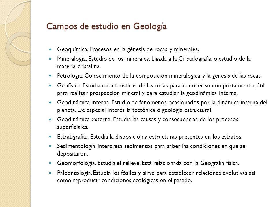 Campos de estudio en Geología