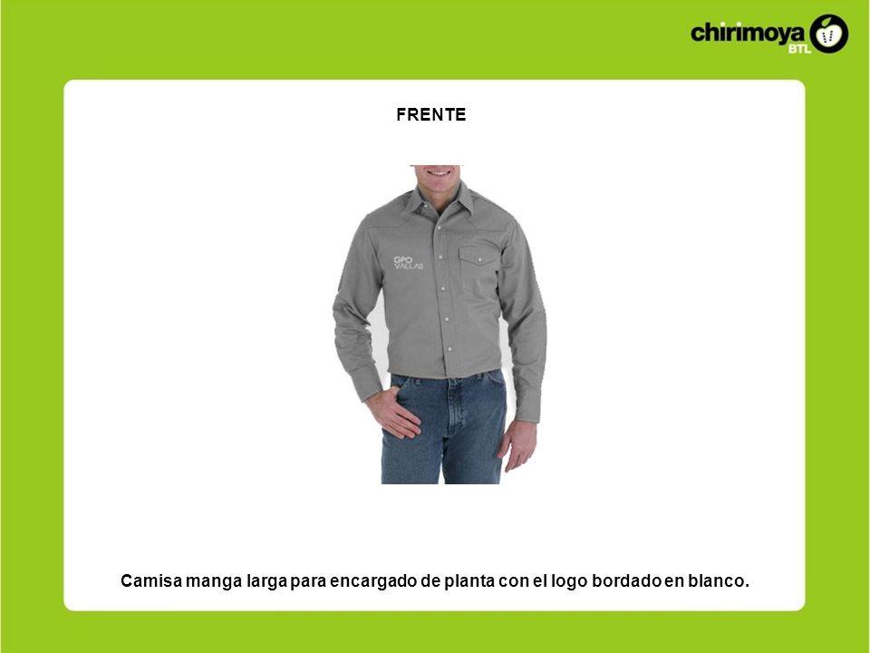 FRENTE Camisa manga larga para encargado de planta con el logo bordado en blanco.