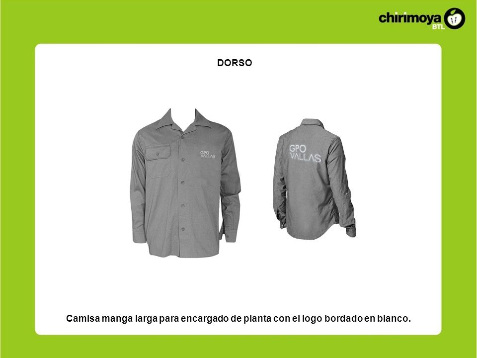 DORSO Camisa manga larga para encargado de planta con el logo bordado en blanco.