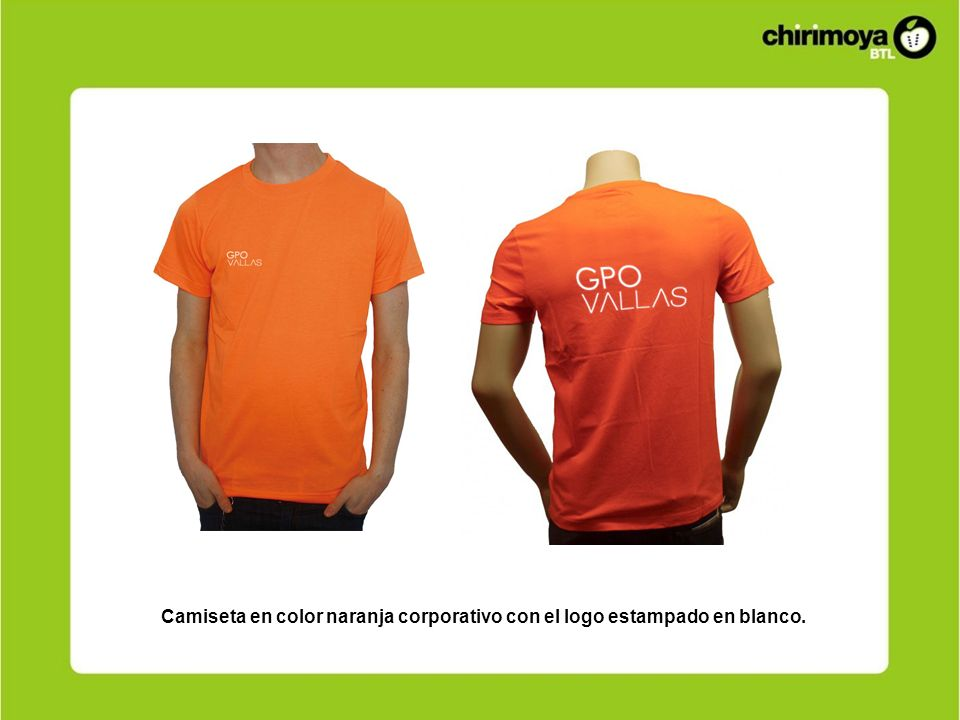 Camiseta en color naranja corporativo con el logo estampado en blanco.