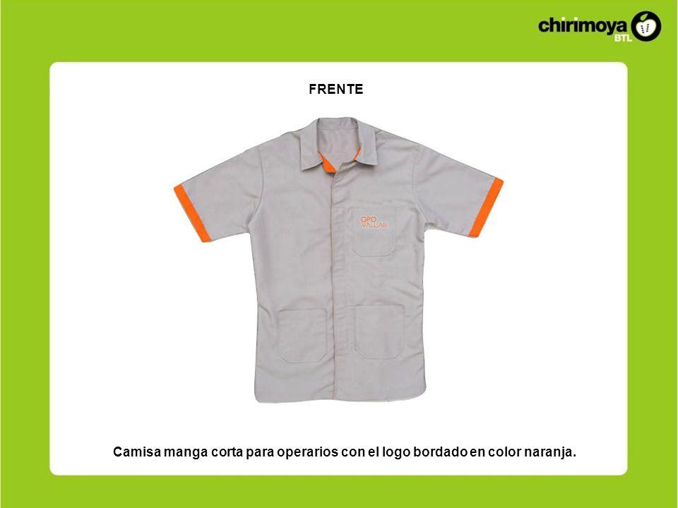 FRENTE Camisa manga corta para operarios con el logo bordado en color naranja.