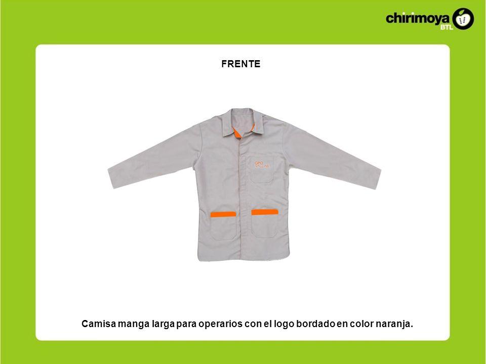 FRENTE Camisa manga larga para operarios con el logo bordado en color naranja.