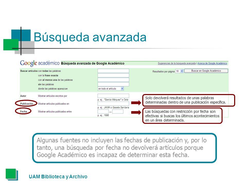 Búsqueda avanzada Solo devolverá resultados de unas palabras determinadas dentro de una publicación específica.