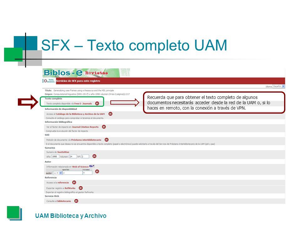 SFX – Texto completo UAM