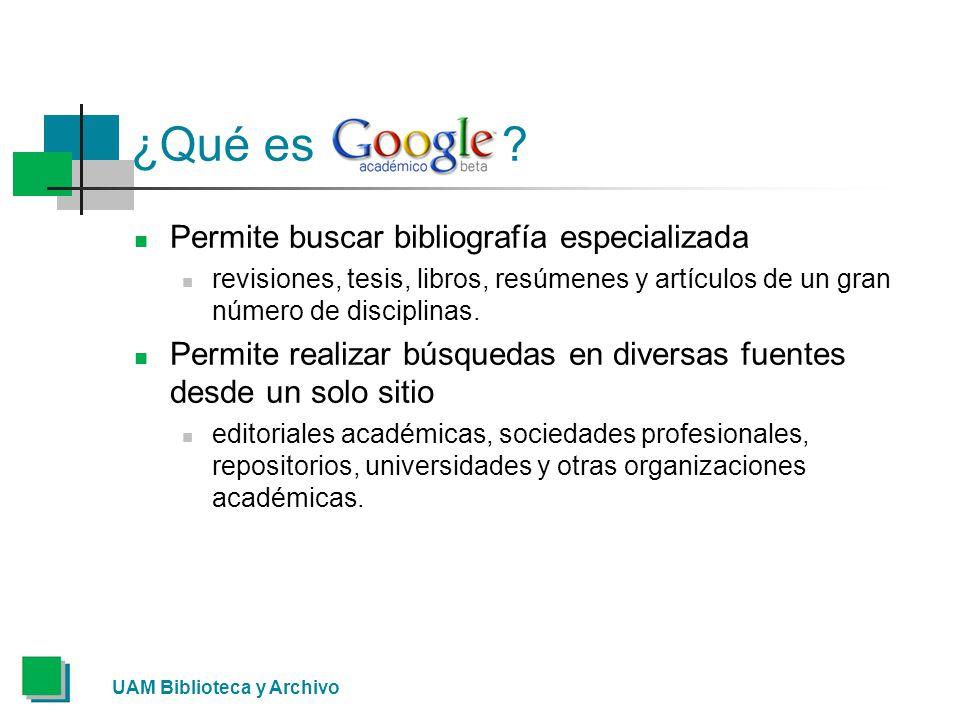 ¿Qué es Permite buscar bibliografía especializada