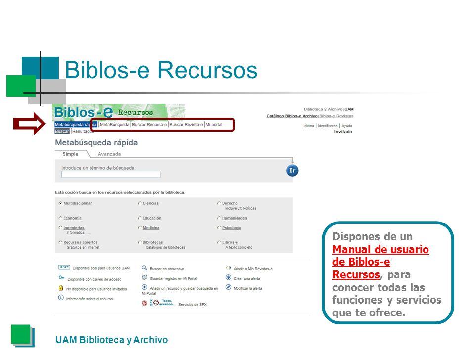 Biblos-e Recursos Dispones de un Manual de usuario de Biblos-e Recursos, para conocer todas las funciones y servicios que te ofrece.
