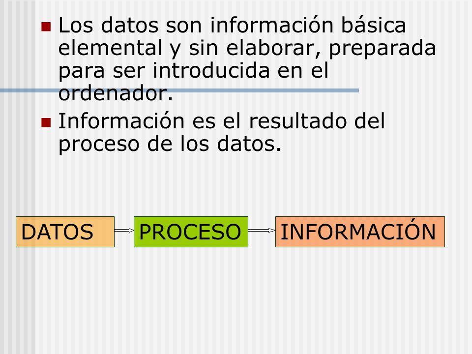 Los datos son información básica elemental y sin elaborar, preparada para ser introducida en el ordenador.