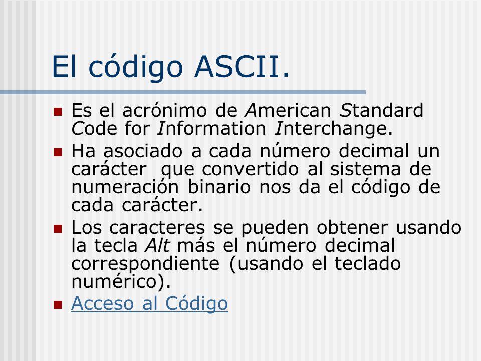 El código ASCII. Es el acrónimo de American Standard Code for Information Interchange.
