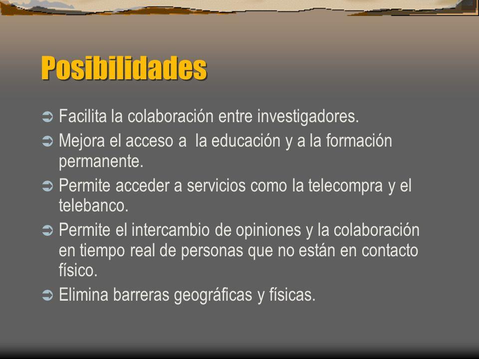 Posibilidades Facilita la colaboración entre investigadores.