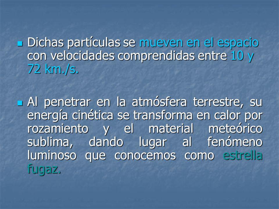 Dichas partículas se mueven en el espacio con velocidades comprendidas entre 10 y 72 km./s.