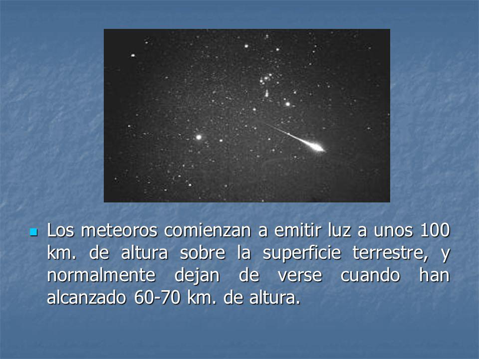Los meteoros comienzan a emitir luz a unos 100 km
