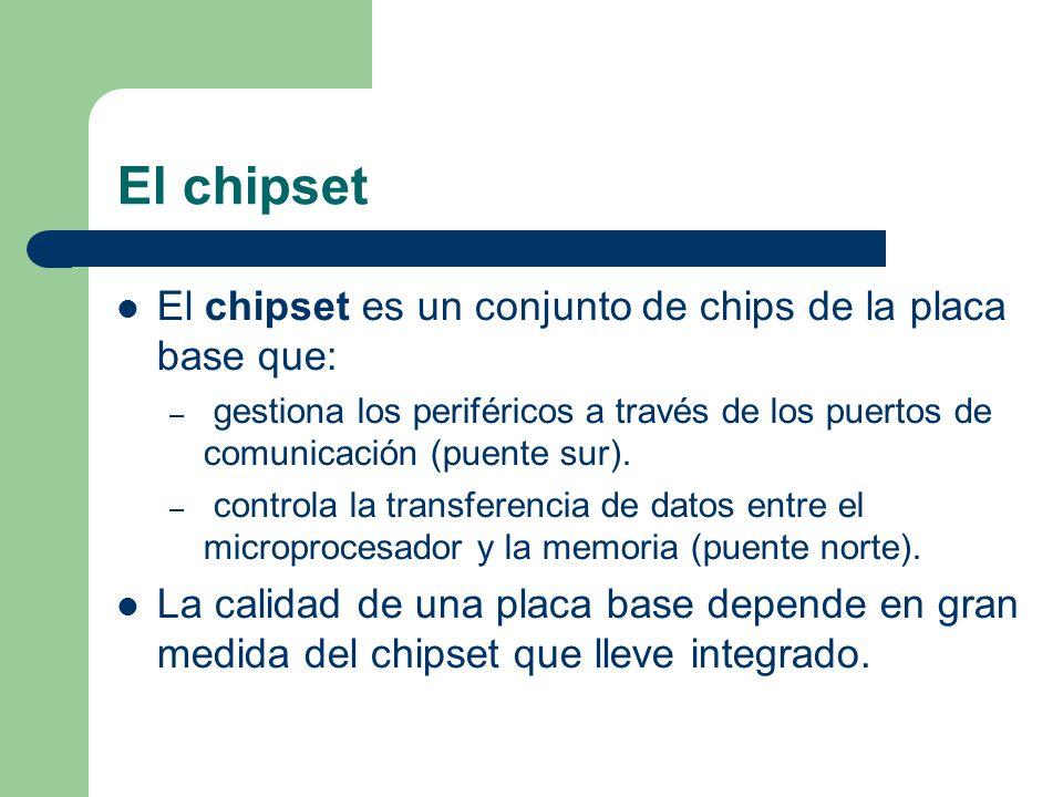 El chipset El chipset es un conjunto de chips de la placa base que: