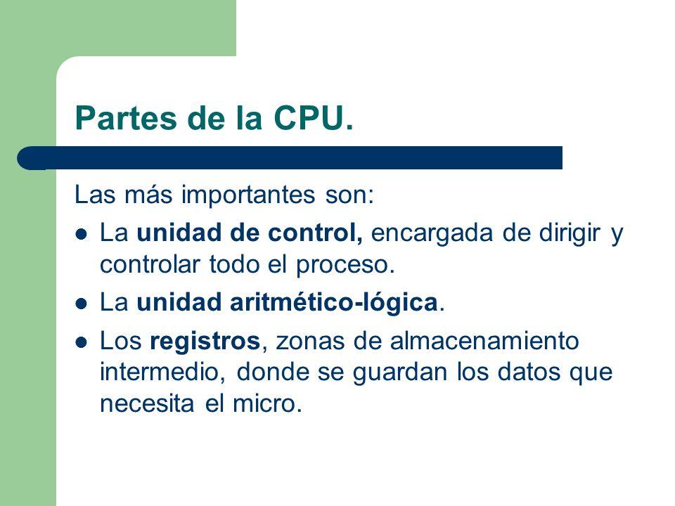 Partes de la CPU. Las más importantes son: