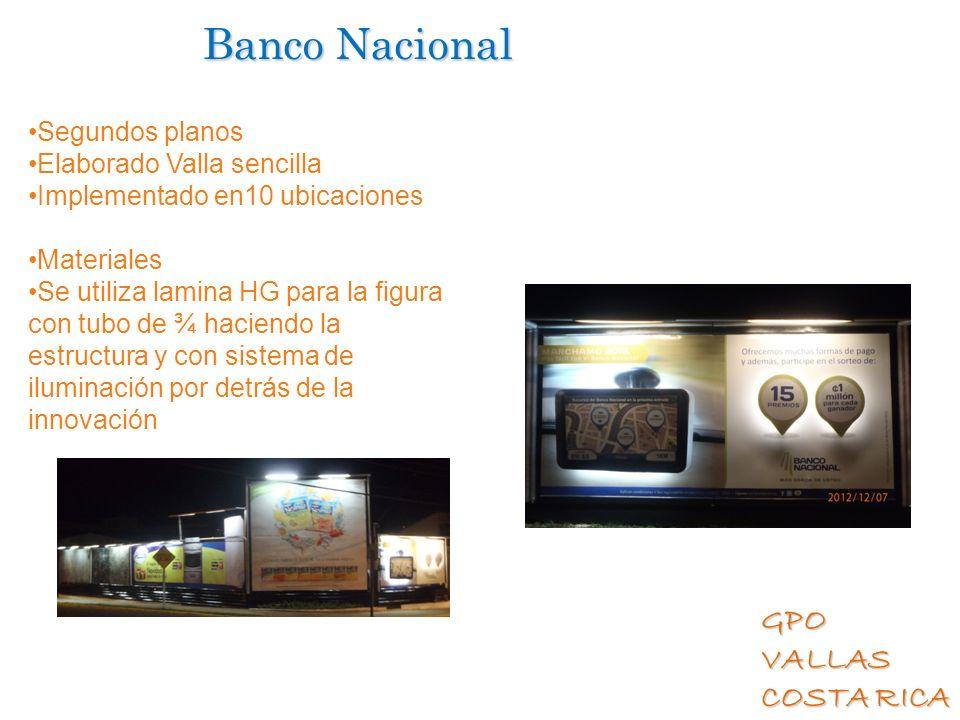 Banco Nacional Segundos planos Elaborado Valla sencilla