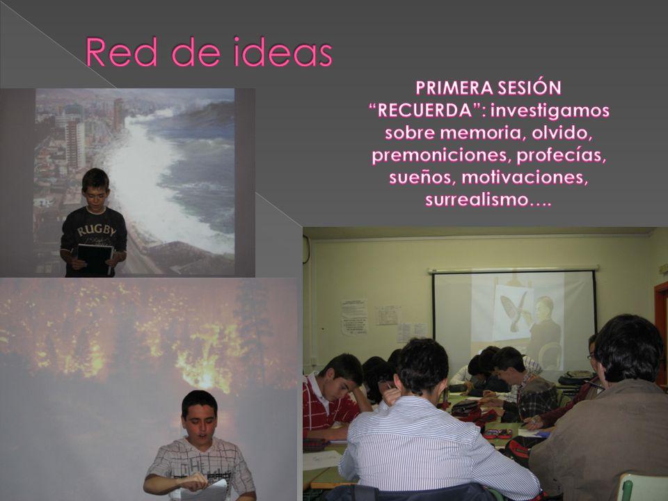 Red de ideas PRIMERA SESIÓN RECUERDA : investigamos sobre memoria, olvido, premoniciones, profecías, sueños, motivaciones, surrealismo….