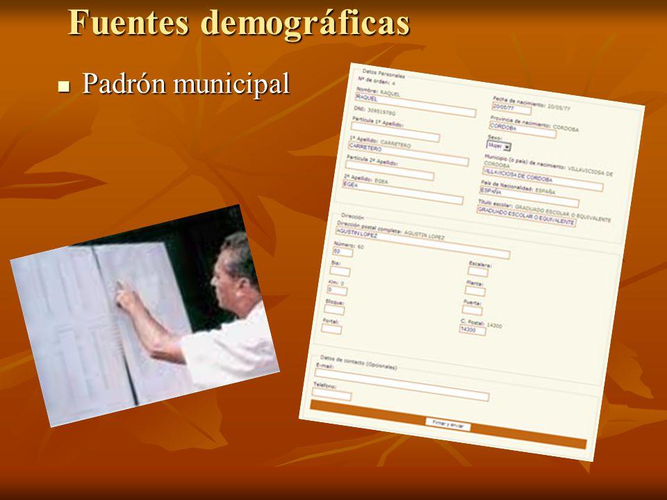 Fuentes demográficas Padrón municipal