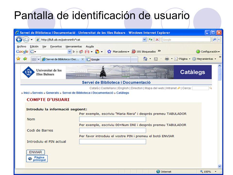 Pantalla de identificación de usuario