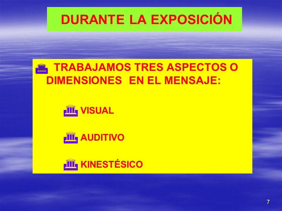 DURANTE LA EXPOSICIÓN VISUAL AUDITIVO KINESTÉSICO