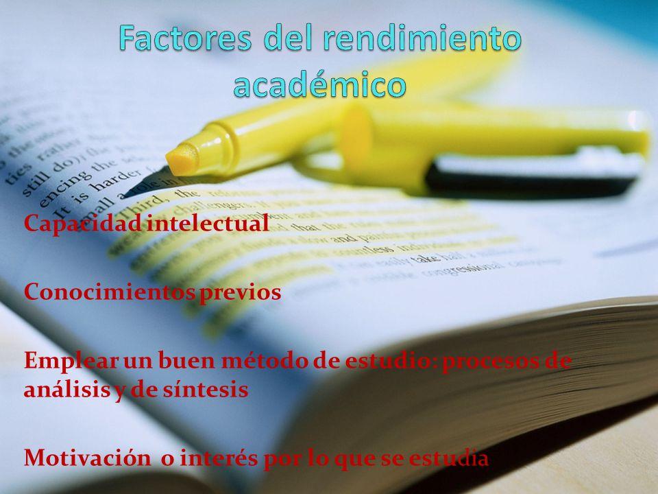 Factores del rendimiento académico