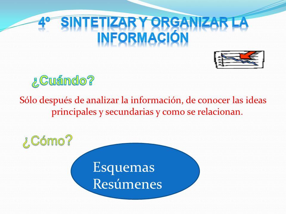 4º Sintetizar y organizar la información