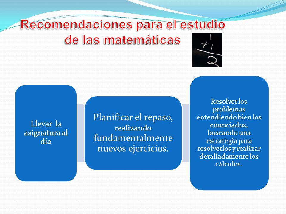 Recomendaciones para el estudio de las matemáticas
