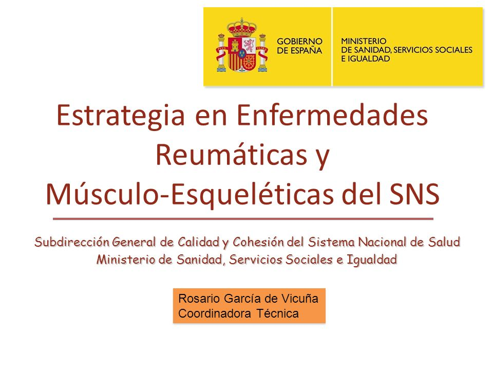 Estrategia en Enfermedades Reumáticas y Músculo-Esqueléticas del SNS