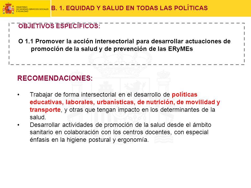 RECOMENDACIONES: B. 1. EQUIDAD Y SALUD EN TODAS LAS POLÍTICAS